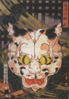 """Изображение Бакенэко, составленное из кошек Ёсифудзи Утагавой на картине """"Ведьма-кошка"""""""