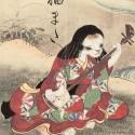 Нэкомата играет на сямисене. Средневековое изображение