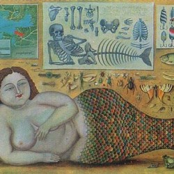 Русалка со скелетом на открытке первой половины ХХ века