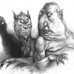 Вукодлак и упырь. Иллюстрация Ивицы Стевановича