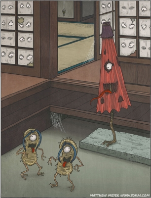 Бакэ-дзори, каракаса-кодзо (каса-обакэ) и мокумокурен. Иллюстрация Мэттью Мэйера