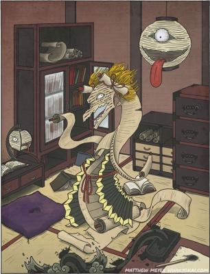 Судзури-но тамаси, кёринрин и тётин-о-бакэ. Иллюстрация Мэтью Мэйера