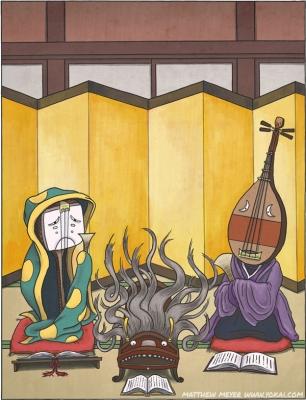 Сями-тёро, Кото-фурунуси и Бива-бокубоку. Иллюстрация Мэтью Мэйера
