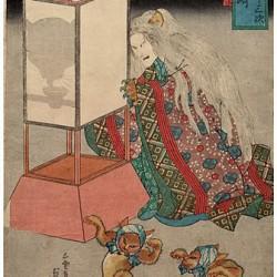 Кайбё со станции Окадзаки и пляска бакэ-нэко. Автор, возможно, Утагава Куниёси