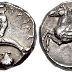 Крылатый гиппокамп на италийской монете из Номисмы (Южная Италия)