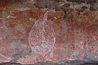 Черепаха. Наскальный рисунок в Национальном Парке Какаду, Австралия