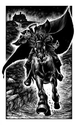"""Всадник без головы. Иллюстрация Мартина МакКены к книге """"Вой оборотня"""" из серии """"Fighting Fantasy"""""""