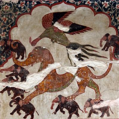 Изображение Яли во дворце Радж-Махал в городе Орчха, штат Мадхья-Прадеш, центральная Индия