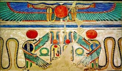 Змееморфные изображения богини Уто из гробницы Сеннеджема, древнеегипетского оформителя царских гробниц (XVIII династия)