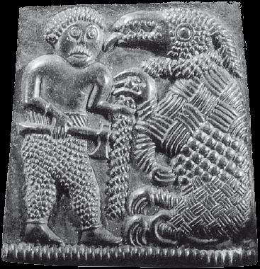 Тюр и Фенрир. Резьба по камню (Швеция, VIII век)