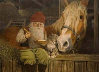 Ниссе-томте. Иллюстрация Яна Бергерлинда