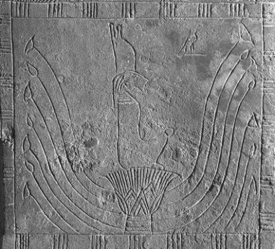 Львиноголовая богиня. Изображение на задней стенке бронзовой статуэтки