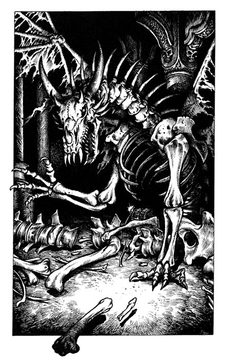 """Драколич. Иллюстрация Мартина МакКены к книге из серии """"Fighting Fantasy"""""""