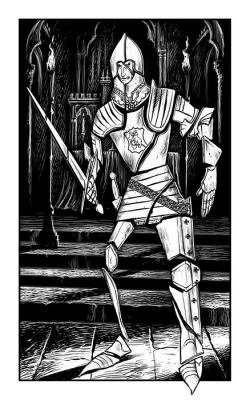 """Стекляный Рыцарь. Иллюстрация Мартина МакКены к книге """"Вой оборотня"""" из серии """"Fighting Fantasy"""""""