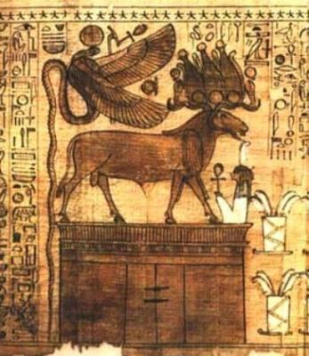 """Богиня Уто и бараноголовый бог. Рисунок из """"Книги мертвых"""""""