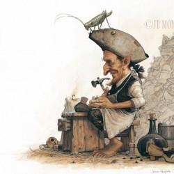 Лепрекон-сапожник. Иллюстрация Жана-Батиста Монжа