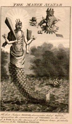 Матсья, аватара Вишну. Эстамп. 1790-е годы