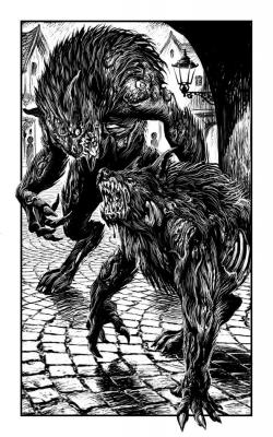 """Варги (зомби-оборотни). Иллюстрация Мартина МакКены к книге """"Вой оборотня"""" из серии """"Fighting Fantasy"""""""