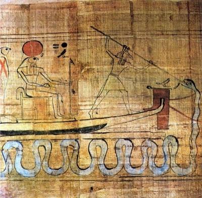 Сет поражает змея Апопа с ладьи бога Ра