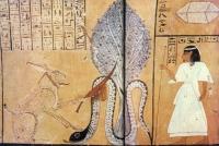 Бог Ра (в облике кота либо зайца) убивает змея Апопа. Настенная роспись гробницы Инхер-ха, Фивы