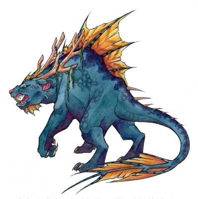 """Мичибичи. Иллюстрация Фионы Эванс для книги """"Compendium of North American Cryptids & Magical Creatures"""""""