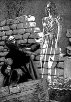 """Охотник на вампиров. Иллюстрация Вёрджила Финлэя для журнала """"Weird Tales"""""""