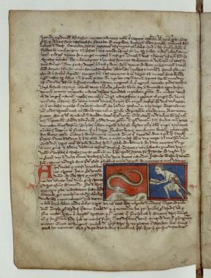 Аспид и заклинатель. Рукопись Французской национальной библиотеки (Latin 3630, fol.93v.)