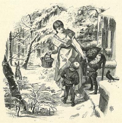 Три лесных гнома (Die drei Männleim im Walde). Иллюстрация Филиппа Грот-Иоганна к сказке братьев Гримм