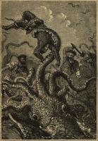 """Гигансткий спрут атакует людей. Иллюстрация Эдуардо Риу и Альфонса Невилья к роману """"20000 лье под водой"""" (1870)"""