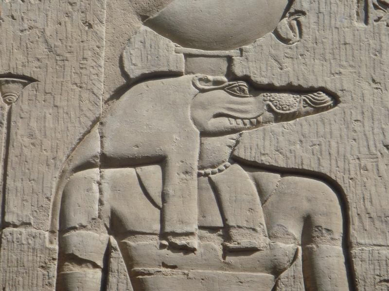 Барельеф с изображением Себека, бога Нила и его разливов