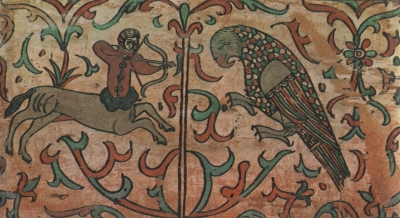 Полкан и попугай. Роспись коробьи. Район Великого Устюга, XVII век
