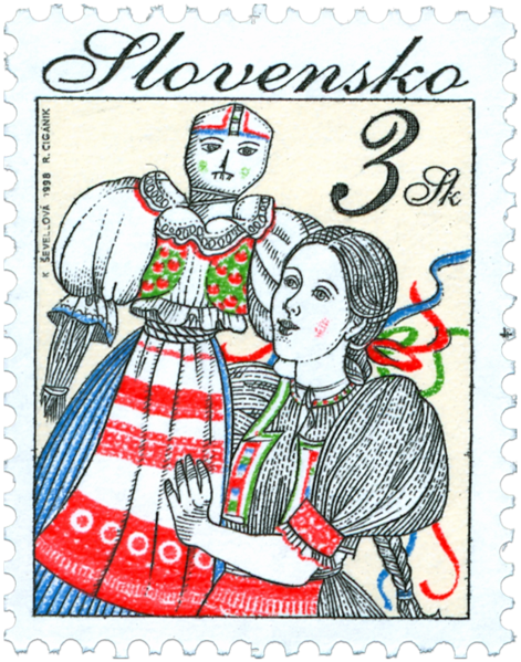 Проводы Морены. Иллюстрация Катаржины Шевеновой на словацкой марке 1998 года