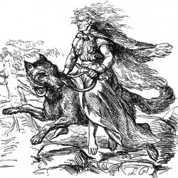 Гирроккин верхом на варге. Иллюстрация Людвига Пича, 1865 год