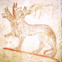 Кербер. Реконструкция фрески из Сидонской усыпальницы. Елевферополь, Палестина. III-II века до н.э.