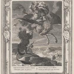 Беллерофонт сражается с Химерой на гравюре Бернара Пикара