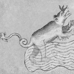 Изображение Лох-Несского чудовища на рукописи XII века (фрагмент)