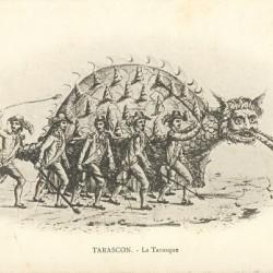 Праздничное чучело Тараска на французской фотокарточке 1900 года