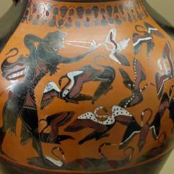 Геракл и стимфалийские птицы. Чернофигурная керамика, около 540 года до н.э.