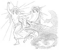 Безымянный рисунок Лоренца Фрёлиха, на котором волк догоняет богиню Соль с ее дочерью