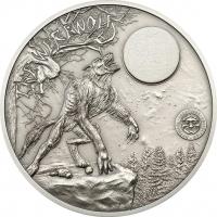 Вервольф на серебрянной монете государства Палау, 2013 года