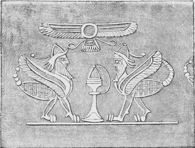 Оттиск ассирийской печати с изображением пары гиртаблилу — людей-скорпионов