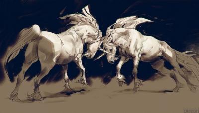 Схватка единорогов. Иллюстрация Анны Подедворной