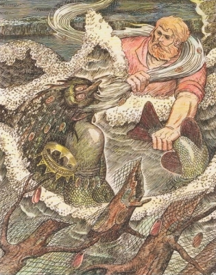 Пера-богатырь и Васа. Иллюстрация Аркадия Мошева