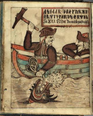 Тор и Гимир. Рукопись Датской Королевской библиотеки (NKS 1867 4º, fol. 93v.)
