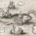 Святой Брендан сотоварищи на спине гигантского кита Ясконтия. Книжная иллюстрация