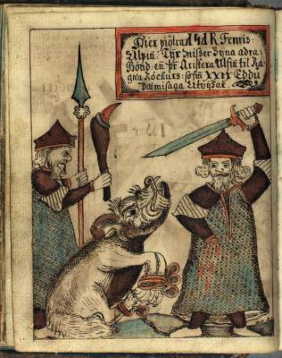 Тюр и Фенрир. Рукопись Датской Королевской библиотеки (NKS 1867 4º, fol. 98v.)