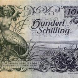 Русалка-мермейд на сотне австрийских шиллингов 1949 года