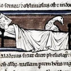 Харадр отворачивается от больного. Рукопись Бодлеянской библиотеки (MS. Bodley 533, fol.015v.)