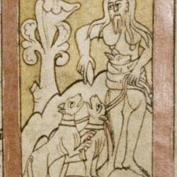 Бородатые женщины-охотницы. Рукопись Бодлеянской библиотеки (MS. Bodley 614, fol. 044v.)