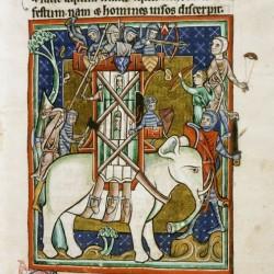 Слон с осадной башней. (Рукопись Бодлеянской библиотеки. MS. Bodley 764, fol. 012r)